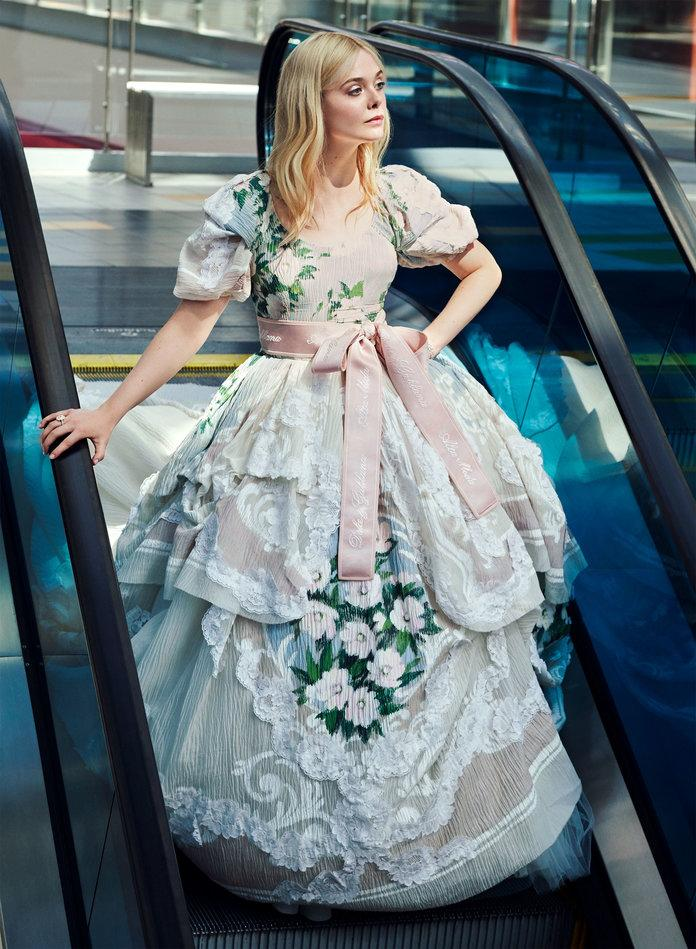 <p>Fanning in Dolce &amp; Gabbana Alta Moda dress. Tiffany &amp; Co. bracelet and ring. Photographed by Pamela Hanson/LGA Management.</p>