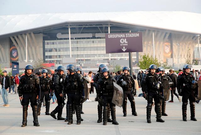 Soccer Football - Europa League Final - Olympique de Marseille vs Atletico Madrid - Lyon, France - May 16, 2018 Police outside the stadium before the match REUTERS/Denis Balibouse