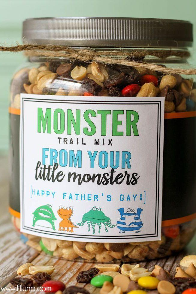 """<p>Even the littlest monsters can help construct this healthy snack for dad. The blogger includes a printable to decorate the jar perfectly for the holiday.</p><p><em><a href=""""https://letsdiyitall.com/monster-trail-mix-fathers-day-gift/"""" rel=""""nofollow noopener"""" target=""""_blank"""" data-ylk=""""slk:Get the tutorial from Lil Luna »"""" class=""""link rapid-noclick-resp"""">Get the tutorial from Lil Luna »</a></em> </p>"""