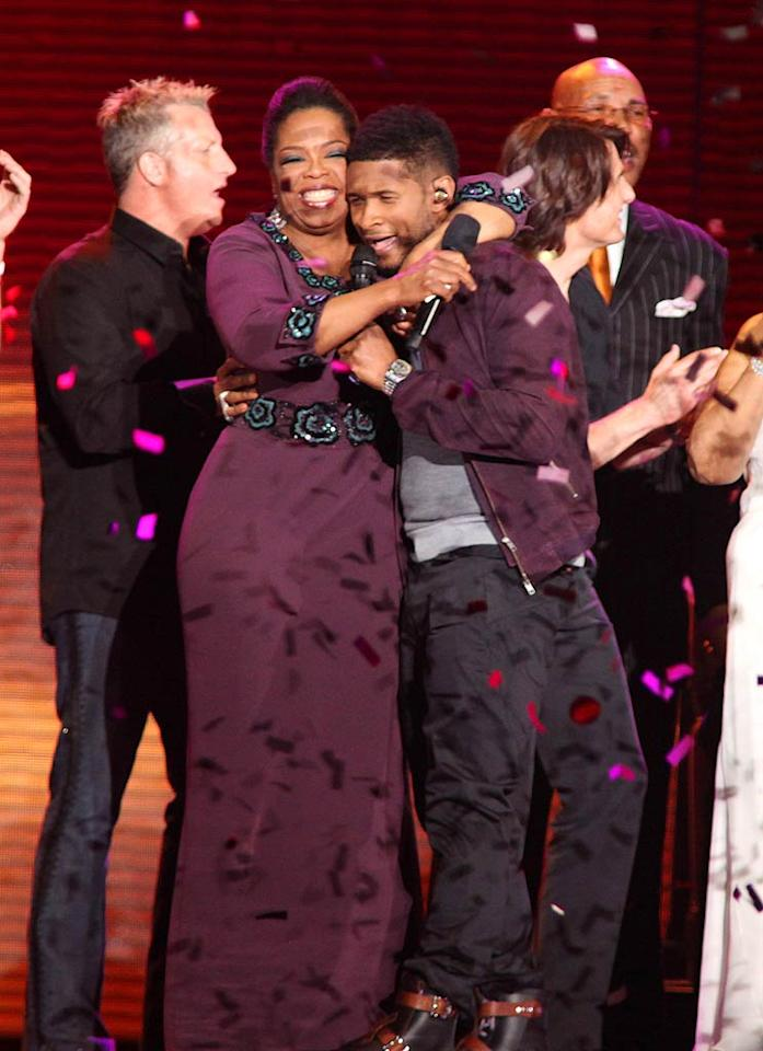 """Oprah got some love from Usher, too! Barry Brecheisen/<a href=""""http://www.wireimage.com"""" target=""""new"""">WireImage.com</a> - May 17, 2011"""