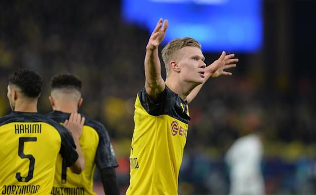 Erling Haaland scored twice as Borussia Dortmund beat Paris Saint-Germain on Tuesday in the Champions League. (Ralf Tresse/Getty)