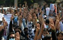 The three-finger salute used by Myanmar's anti-coup protesters has come to symbolise defiance of the new military regime