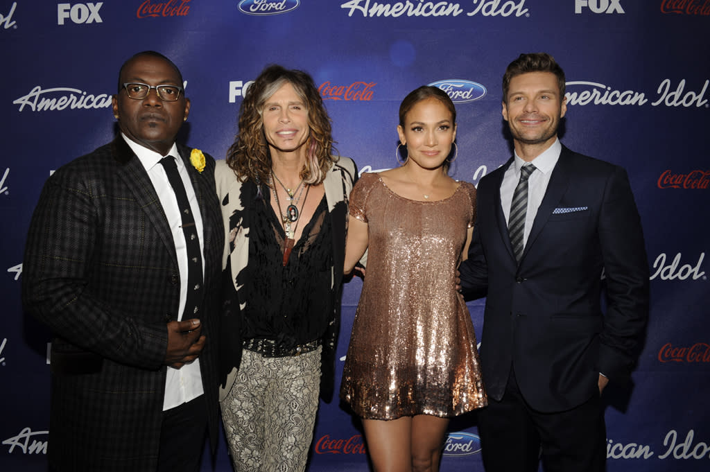 "Randy Jackson, Steven Tyler, Jennifer Lopez, and Ryan Seacrest attend the Season 11 ""<a href=""http://tv.yahoo.com/american-idol/show/34934"">American Idol</a>"" Top 13 Finalists Party on Thursday, March 1 at The Grove in Los Angeles, CA."
