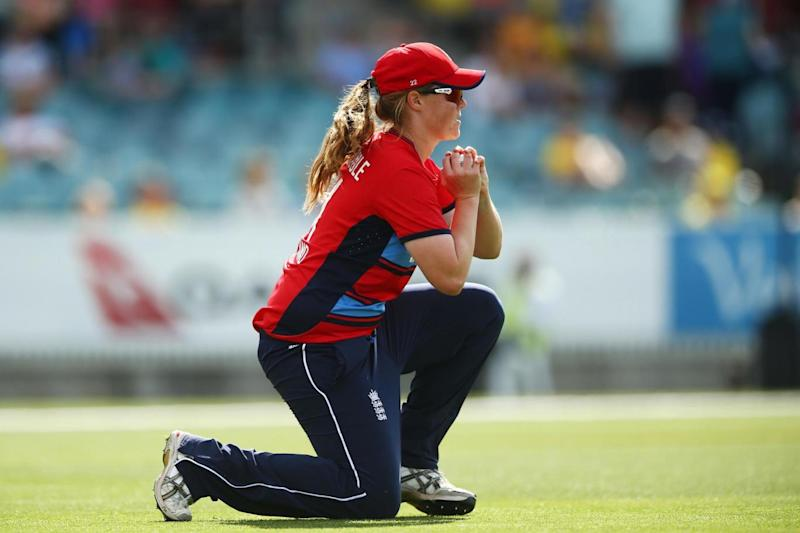 Shrubsole takes a catch in a T20 clash with Australia (Getty Images)