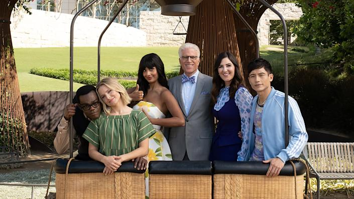 """The cast of 'The Good Place' embarking on its final voyage <span class=""""copyright"""">NBC</span>"""