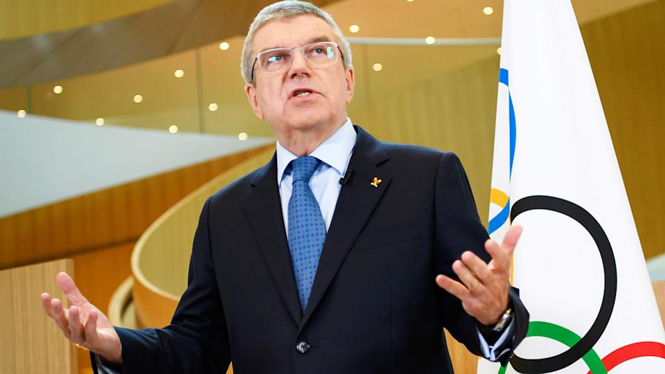 International Olympic Committee President Thomas Bach, pictured here speaking to the media.