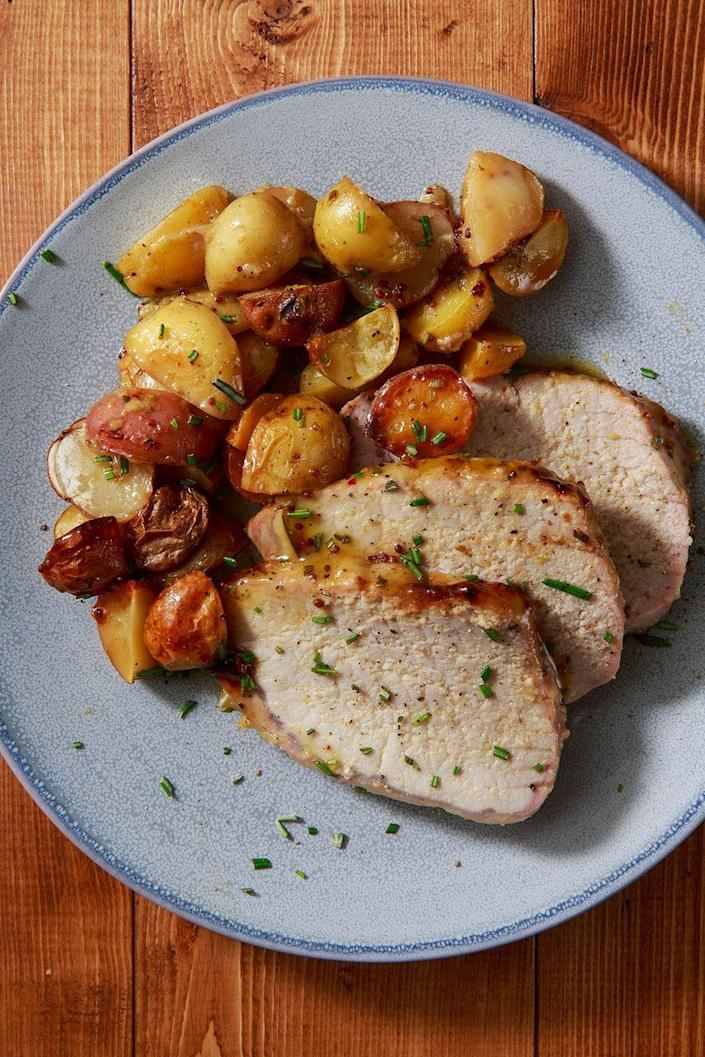 "<p>Pairs perfectly with the roasted potatoes. </p><p>Get the recipe from <a href=""https://www.delish.com/cooking/recipe-ideas/recipes/a8597/roast-pork-tenderloin-recipe/"" rel=""nofollow noopener"" target=""_blank"" data-ylk=""slk:Delish"" class=""link rapid-noclick-resp"">Delish</a>. </p>"