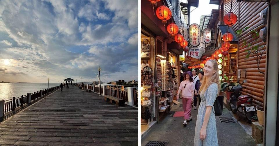 <p>Charlotte likes Jiufen very much (right). Tamshui Old Street (Courtesy of @charmless.charmander/Instagram)</p>
