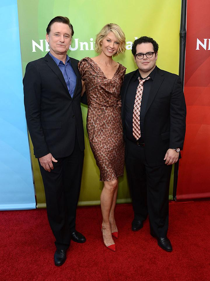 "Bill Pullman, Jenna Elfman and Josh Gad attend NBCUniversal's ""2013 Winter TCA Tour"" Day 1 at Langham Hotel on January 6, 2013 in Pasadena, California."