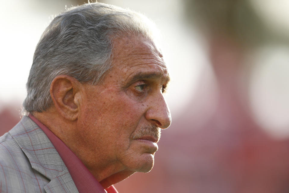 TAMPA, FLORIDA - DECEMBER 29:  Atlanta Falcons owner and CEO Arthur Blank looks on during the second half between the Tampa Bay Buccaneers and the Atlanta Falcons at Raymond James Stadium on December 29, 2019 in Tampa, Florida. (Photo by Michael Reaves/Getty Images)
