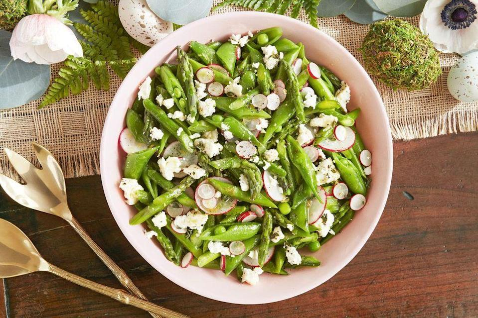 """<p>Asparagus, snap peas, and radishes are the ultimate trio—and this citrusy salad is proof. </p><p><strong><a href=""""https://www.countryliving.com/food-drinks/a19041669/asparagus-snap-pea-and-radish-salad-recipe/"""" rel=""""nofollow noopener"""" target=""""_blank"""" data-ylk=""""slk:Get the recipe"""" class=""""link rapid-noclick-resp"""">Get the recipe</a>.</strong></p>"""