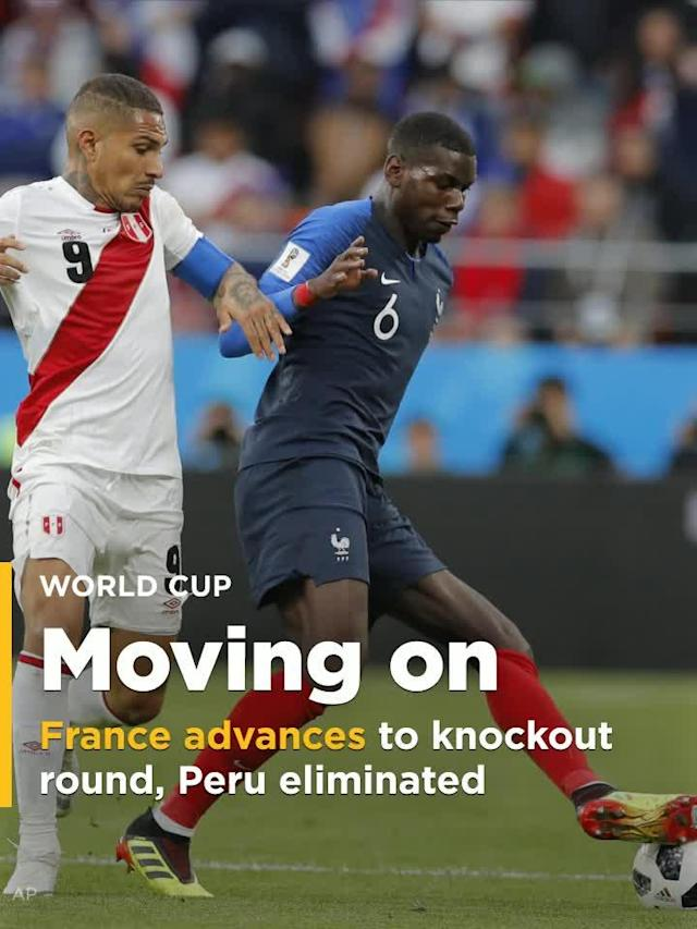 France defeated Peru 1-0 to earn its place in the Wold Cup knockout rounds. Peru was also eliminated from its first World Cup since 1982 with the defeat.