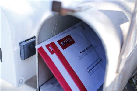 Netflix DVD return mailers are shown in a mail box in Encinitas' California