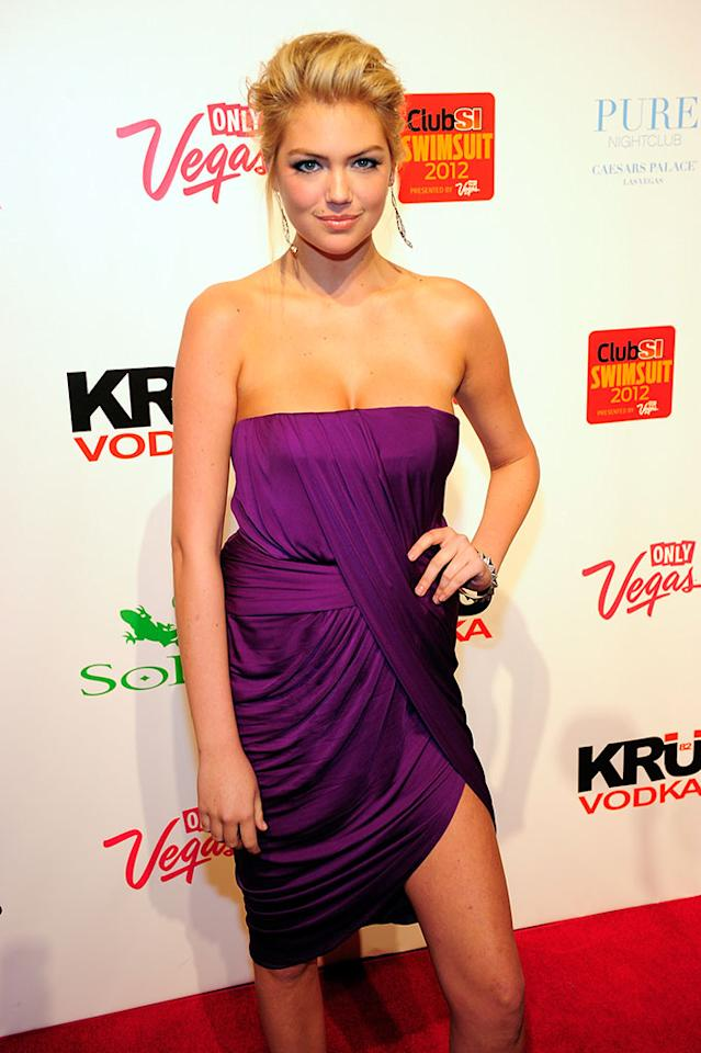 LAS VEGAS, NV - FEBRUARY 16: Sports Illustrated swimsuit model Kate Upton arrives for Club SI Swimsuit at the Pure Nightclub at Caesars Palace on February 16, 2012 in Las Vegas, Nevada.