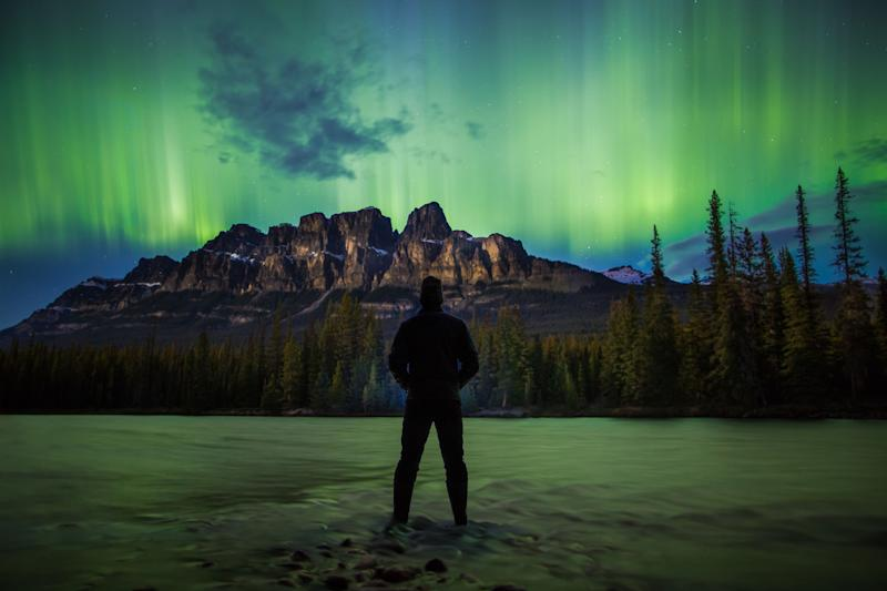 Aurora in the Canadian Rockies. (Photo: Paul Zizka/Caters News)