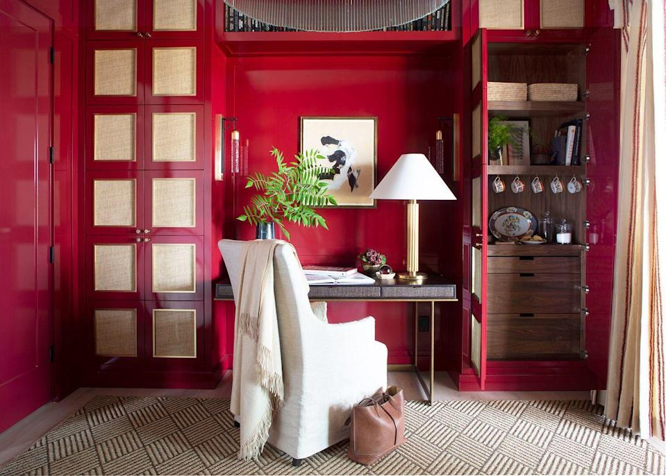 """<p>Have an extra closet or storage area? Set up a nearby caffeine bar. In the case of <a href=""""https://www.housebeautiful.com/design-inspiration/a34350107/whole-home-tea-room-marie-flanigan/"""" rel=""""nofollow noopener"""" target=""""_blank"""" data-ylk=""""slk:this"""" class=""""link rapid-noclick-resp"""">this</a> space designed by <a href=""""https://marieflanigan.com/"""" rel=""""nofollow noopener"""" target=""""_blank"""" data-ylk=""""slk:Marie Flanigan"""" class=""""link rapid-noclick-resp"""">Marie Flanigan</a>, the desk-side cabinet is stocked with tea supplies. This way, the occupant can actually get some use out of their collected china and reduce their trips back and forth to the kitchen while working.</p>"""