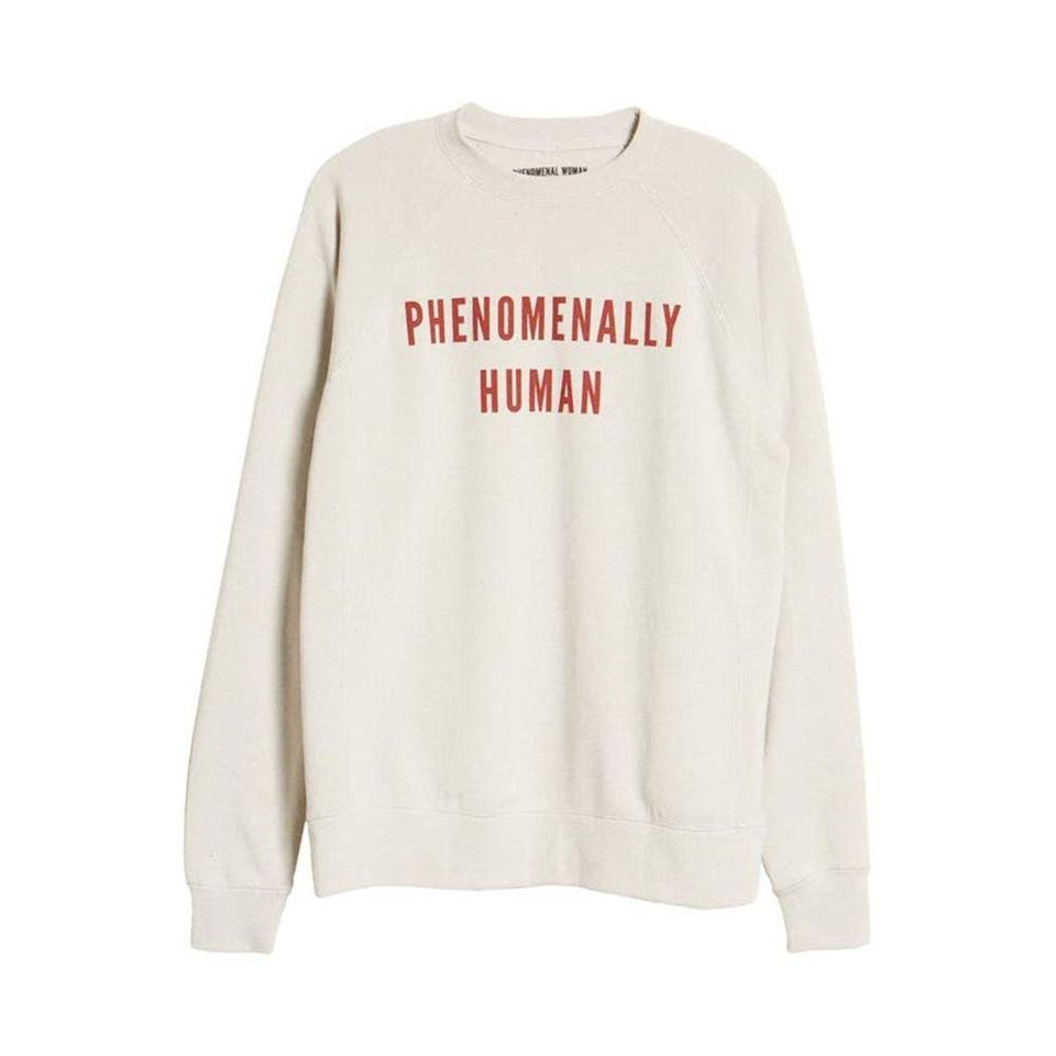 """<p><strong>Phenomenal Woman</strong></p><p>nordstrom.com</p><p><a href=""""https://go.redirectingat.com?id=74968X1596630&url=https%3A%2F%2Fwww.nordstrom.com%2Fs%2Fphenomenal-phenomenally-human-cotton-blend-sweatshirt-regular-plus-size%2F5763300%3Forigin%3Dcategory-personalizedsort%26breadcrumb%3DHome%252FSale%252FWomen%252FClothing%26color%3D020&sref=https%3A%2F%2Fwww.elle.com%2Ffashion%2Fshopping%2Fg35279952%2Fbest-fashion-on-sale-2021%2F"""" rel=""""nofollow noopener"""" target=""""_blank"""" data-ylk=""""slk:Shop Now"""" class=""""link rapid-noclick-resp"""">Shop Now</a></p><p><strong><del>$55</del> $23 (58% off)</strong></p><p>Founded by <a href=""""https://www.elle.com/culture/career-politics/a34616815/kamala-harris-meena-harris-ambitious-girl/"""" rel=""""nofollow noopener"""" target=""""_blank"""" data-ylk=""""slk:Meena Harris"""" class=""""link rapid-noclick-resp"""">Meena Harris</a>, as in the niece of madam vice president Kamala Harris, Phenomenal Woman is a brand that celebrates all women and minorities. If you're after a cozy crew neck for yourself or a loved one, this one has soul.</p>"""