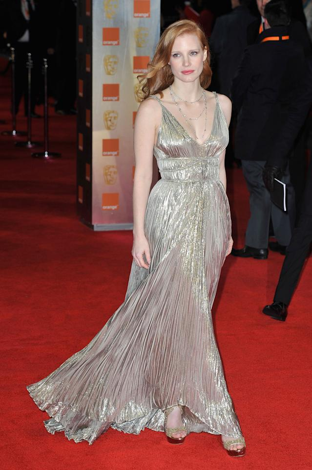 LONDON, ENGLAND - FEBRUARY 12: Jessica Chastain attends the Orange British Academy Film Awards 2012 at the Royal Opera House on February 12, 2012 in London, England.  (Photo by Gareth Cattermole/Getty Images)