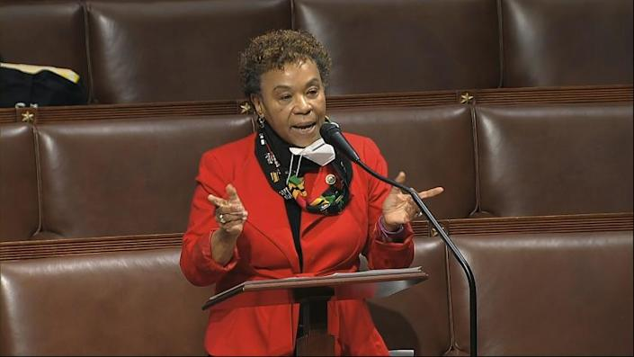 FILE - In this April 23, 2020, file image from video, Rep. Barbara Lee, D-Calif., speaks on the floor of the House of Representatives at the U.S. Capitol in Washington. The Democratic-led House, with the backing of President Joe Biden, is expected to approve legislation Thursday, June 17, 2021, to repeal the 2002 authorization for use of military force in Iraq. (House Television via AP)