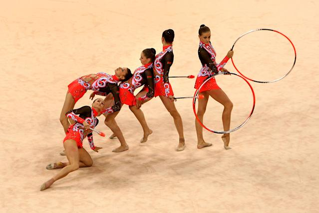BEIJING - AUGUST 22: Team Belarus competes in the Group All-Around Qualification round of the Rhythmic Gymnastics event at the Beijing University of Technology Gymnasium on Day 14 of the Beijing 2008 Olympic Games on August 22, 2008 in Beijing, China. (Photo by Vladimir Rys/Bongarts/Getty Images)