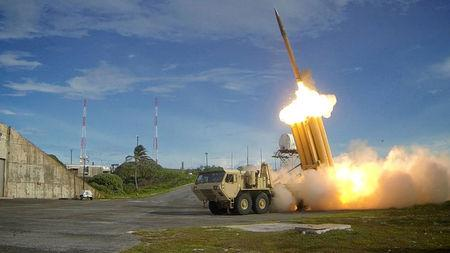 FILE PHOTO: A Terminal High Altitude Area Defense (THAAD) interceptor is launched during a successful intercept test, in this undated handout photo provided by the U.S. Department of Defense, Missile Defense Agency.  U.S. Department of Defense, Missile Defense Agency/Handout via Reuters/File Photo