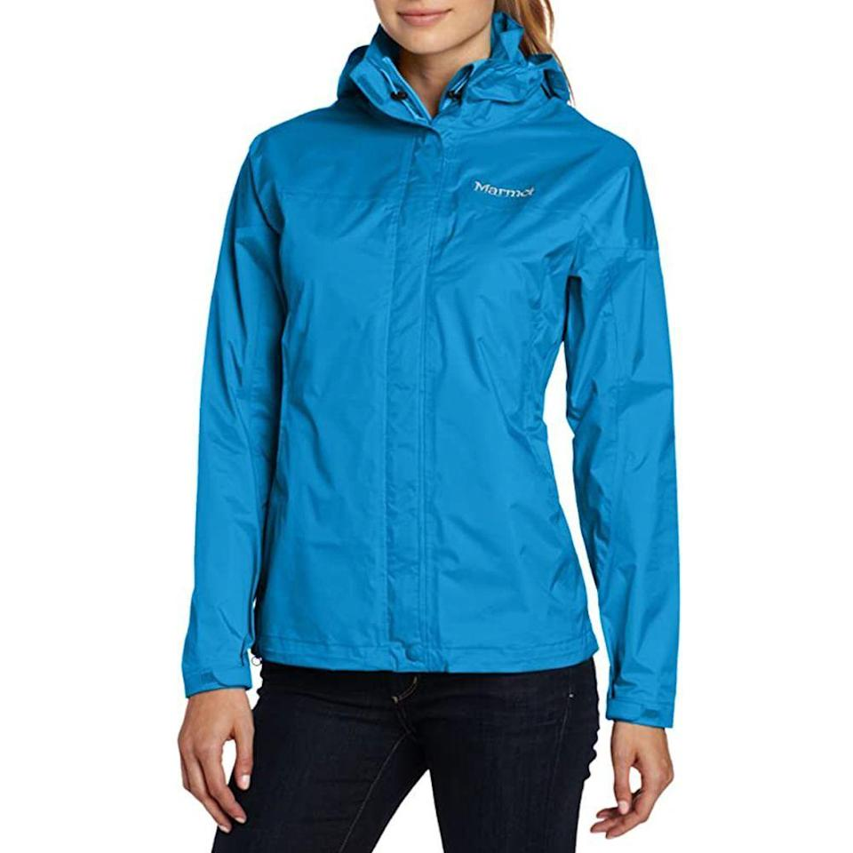"""<p><strong>Marmot</strong></p><p>amazon.com</p><p><strong>$74.03</strong></p><p><a href=""""https://www.amazon.com/dp/B000HGVSWQ?tag=syn-yahoo-20&ascsubtag=%5Bartid%7C2141.g.32869392%5Bsrc%7Cyahoo-us"""" rel=""""nofollow noopener"""" target=""""_blank"""" data-ylk=""""slk:Shop Now"""" class=""""link rapid-noclick-resp"""">Shop Now</a></p><p>Rain or shine, this nylon jacket will be a godsend when you hear thunder while on the trail. Made with the brand's NanoPro coating, this features tiny pores that allow the lightweight rain jacket to remain breathable without compromising on a waterproof shield thanks to its seam taped design. We really like that this has extra material to cover up to the neck and has a removable hood. <br></p>"""