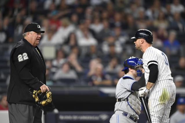 New York Yankees' Brett Gardner (11) argues with home plate umpire Joe West after a called strike during the ninth inning of the team's baseball game against the Toronto Blue Jays, Friday, Sept. 20, 2019, in New York. (AP Photo/Sarah Stier)