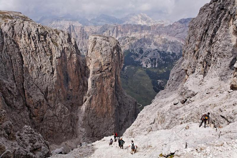 People Climbing Brigata Tridentina Via Ferrata