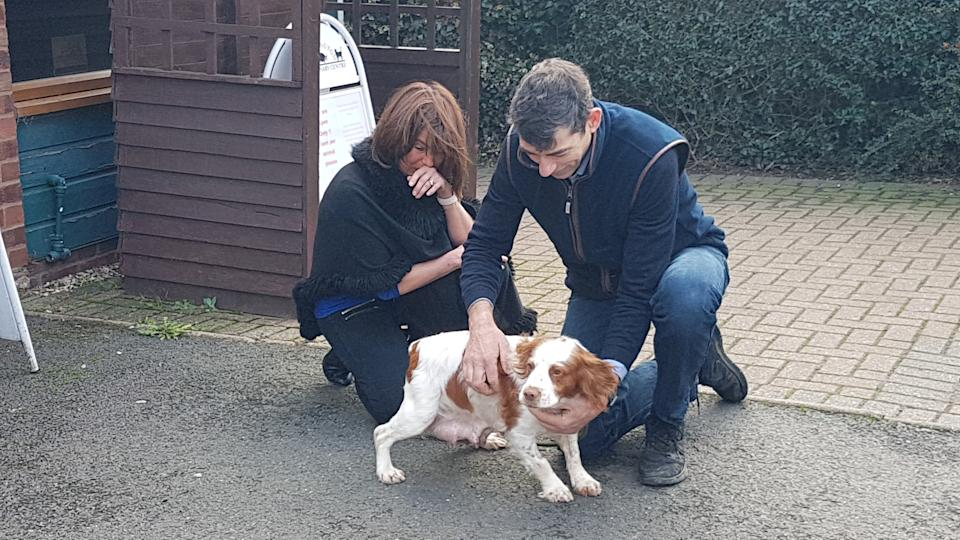 Simon Hall and his wife Caroline were reunited with their pet pooch Bonnie who was stolen six years ago. (SWNS)