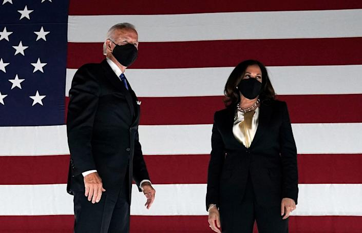 Announcing Kamala Harris as his running mate saw a massive spike in funding for the Biden campaign (AFP via Getty Images)