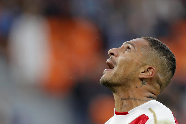 Peru's Paolo Guerrero looks up during the group C match between France and Peru at the 2018 soccer World Cup in the Yekaterinburg Arena in Yekaterinburg, Russia, Thursday, June 21, 2018. (AP Photo/Vadim Ghirda)