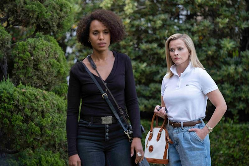 LITTLE FIRES EVERYWHERE, from left: Kerry Washington, Reese Witherspoon, The Spark, (Season 1, ep. 101, aired Mar. 18, 2020). photo: Erin Simkin / Hulu / Courtesy Everett Collection