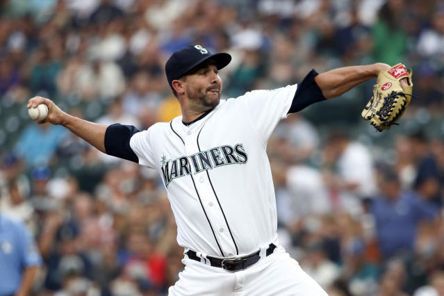 Seattle Mariners starting pitcher Nick Vincent throws against the Houston Astros during the first inning of a baseball game, Tuesday, Aug. 21, 2018, in Seattle. (AP Photo/Jennifer Buchanan)