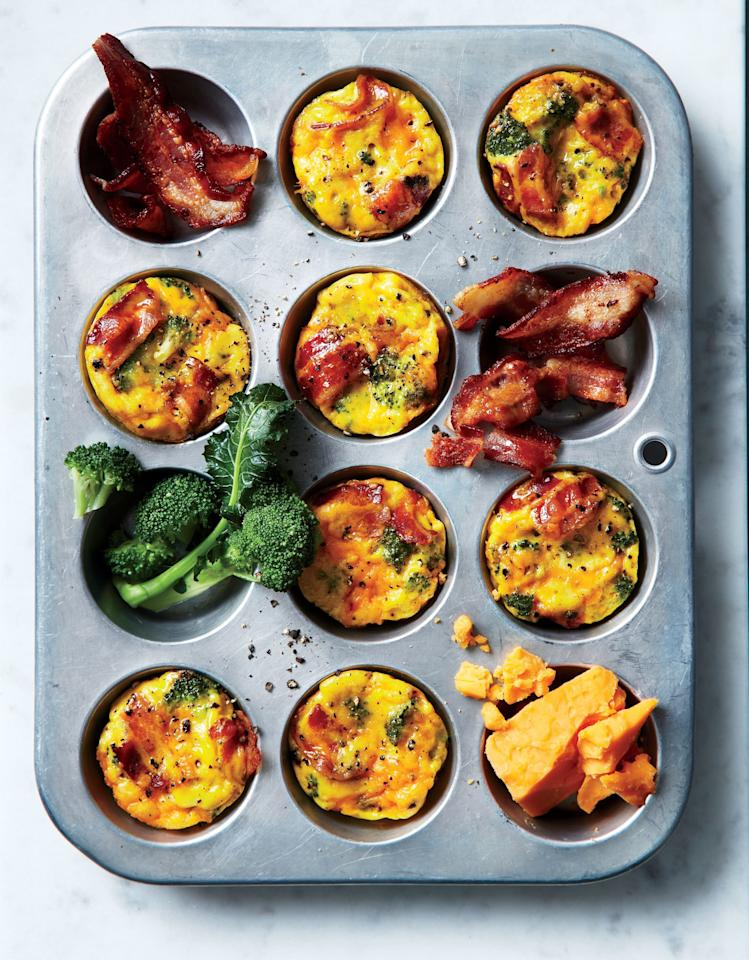 "<p>This easy make-ahead breakfast will have you set for the week. You get two mini frittatas per serving for only 168 calories; pair with a piece of fruit for a satisfying breakfast. Store cooked frittatas in the fridge for up to four days.</p> <p><a href=""https://www.myrecipes.com/recipe/broccoli-and-bacon-muffin-tin-frittatas"">Broccoli-and-Bacon Muffin-Tin Frittatas Recipe</a></p>"