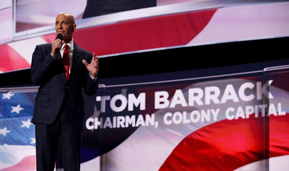 Tom Barrack, founder of Colony Capital, and a close ally of former President Donald Trump, has been arrested for violating foreign lobbying laws. Here he delivers a speech on the fourth day of the Republican National Convention on July 21, 2016 at the Quicken Loans Arena in Cleveland, Ohio.