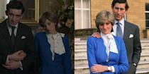 """<p>Of course, <em>The Crown </em>couldn't depict the """"whatever love means"""" scene without Diana's blue engagement outfit — from the patent leather clutch to the printed bow blouse. We wonder if they got it from Harrods department store, like the <a href=""""https://www.popsugar.co.uk/fashion/Princess-Diana-Engagement-Dress-44228493"""" rel=""""nofollow noopener"""" target=""""_blank"""" data-ylk=""""slk:Princess did"""" class=""""link rapid-noclick-resp"""">Princess did</a> back in 1981. </p>"""