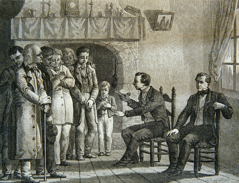 An engraving of Joseph Smith reading the Book of Mormon. (Chris Hellier via Getty Images)
