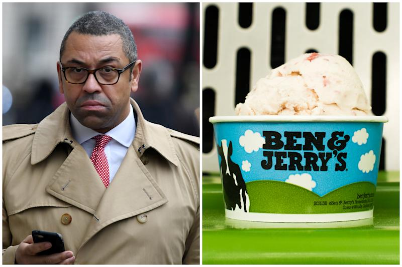 James Cleverly accused Ben and Jerry's of 'virtue signalling' after it spoke out against Priti Patel over migrants crossing the English Channel. (Getty Images/Ben & Jerry's)