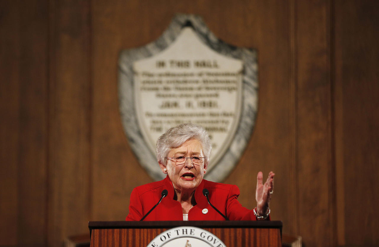 FILE - In this jan. 10, 2018, file photo, Alabama Gov. Kay Ivey gives the annual State of the State address at the Capitol, in Montgomery, Ala. Ivey's campaign is touting in an ad and email to supporters that as governor she signed the largest middle-class tax cut in 10 years, a claim that is true. However, the income tax cut is also modest at best. Ivey, who became governor last year, is stressing her record in office as she faces Huntsville Mayor Tommy Battle, evangelist Scott Dawson and state Sen. Bill Hightower in the Republican gubernatorial primary on June 5. (AP Photo/Brynn Anderson, File)
