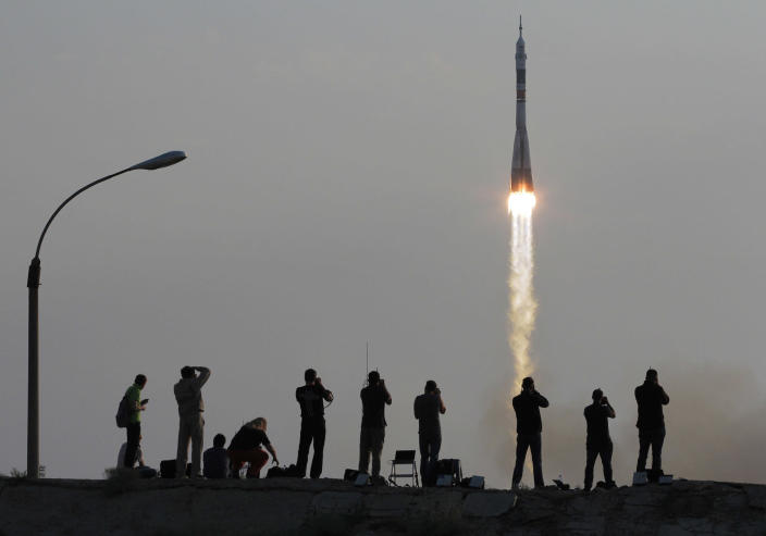<p>The Soyuz-FG rocket booster with Soyuz MS space ship carrying a new crew to the International Space Station, ISS, blasts off at the Russian leased Baikonur cosmodrome, Kazakhstan, Thursday, July 7, 2016. (AP Photo/Dmitri Lovetsky) </p>