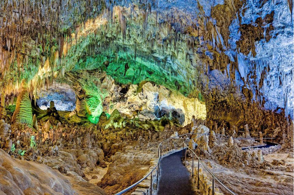 """<p><a href=""""https://www.nps.gov/cave/index.htm"""" rel=""""nofollow noopener"""" target=""""_blank"""" data-ylk=""""slk:Carlsbad Caverns National Park"""" class=""""link rapid-noclick-resp"""">Carlsbad Caverns National Park</a> is underground with more than 119 known caves that were formed from limestone and sulfuric acid. Visitors can hike down or use the option of taking an elevator 750 feet below ground. </p><p>If you're looking for the full experience, skip the hotel and check out a campground instead. Bring along a <a href=""""https://www.bestproducts.com/tech/gadgets/g3416/best-portable-mini-small-projectors/"""" rel=""""nofollow noopener"""" target=""""_blank"""" data-ylk=""""slk:portable projector"""" class=""""link rapid-noclick-resp"""">portable projector</a> for an outdoor movie night on the grounds. </p>"""