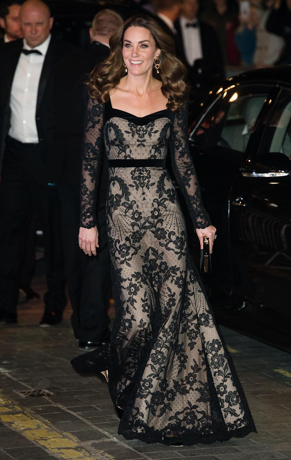 LONDON, ENGLAND - NOVEMBER 18: Catherine, Duchess of Cambridge attends the Royal Variety Performance at Palladium Theatre on November 18, 2019 in London, England. (Photo by Samir Hussein/WireImage)