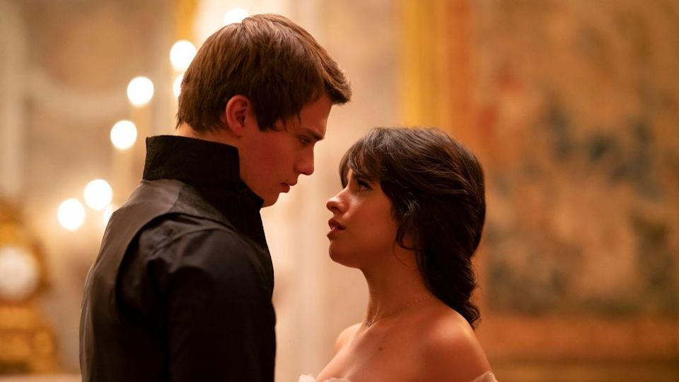 Camila Cabello as Cinderella stands face to face with a man in new trailer.