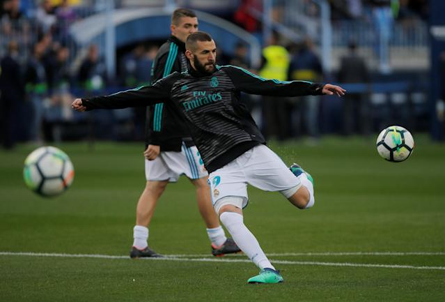 Soccer Football - La Liga Santander - Malaga CF vs Real Madrid - La Rosaleda, Malaga, Spain - April 15, 2018 Real Madrid's Karim Benzema during the warm up before the match REUTERS/Jon Nazca