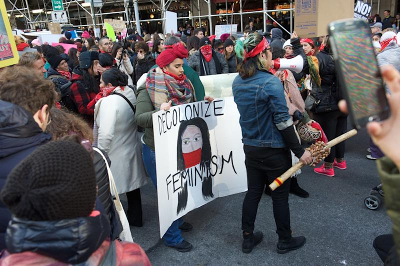 Veronica Pazmino, 28, wore redat the NYC Women's March to honor indigenous women. (Alanna Vagianos/HuffPost)