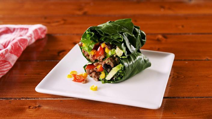 """<p>These are way sturdier than lettuce wraps.</p><p>Get the recipe from <a href=""""https://www.delish.com/cooking/recipe-ideas/a25938351/collard-wrap-burritos-recipe/"""" rel=""""nofollow noopener"""" target=""""_blank"""" data-ylk=""""slk:Delish"""" class=""""link rapid-noclick-resp"""">Delish</a>.</p>"""