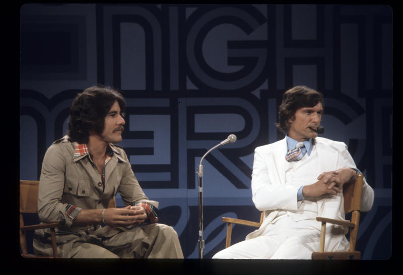 "Geraldo Rivera, left, and Hugh Henfer filming a ""Tribute to Marlon Brandon"" on June 6, 1974. (ABC Photo Archives via Getty Images)"