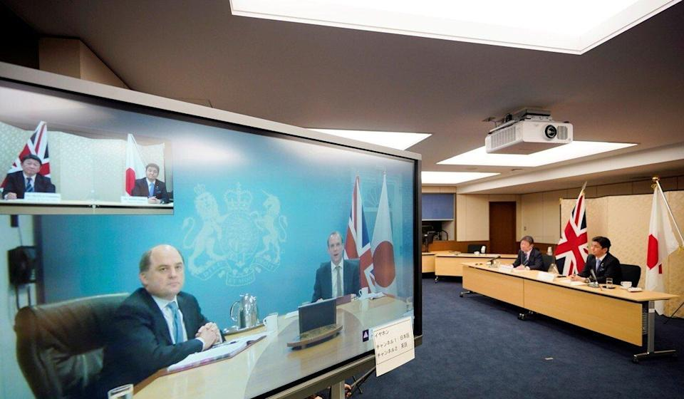 Japanese Defence Minister Nobuo Kishi and Foreign Minister Toshimitsu Motegi hold virtual talks with British Foreign Secretary Dominic Raab and Defence Minister Ben Wallace on Wednesday. Photo: Reuters