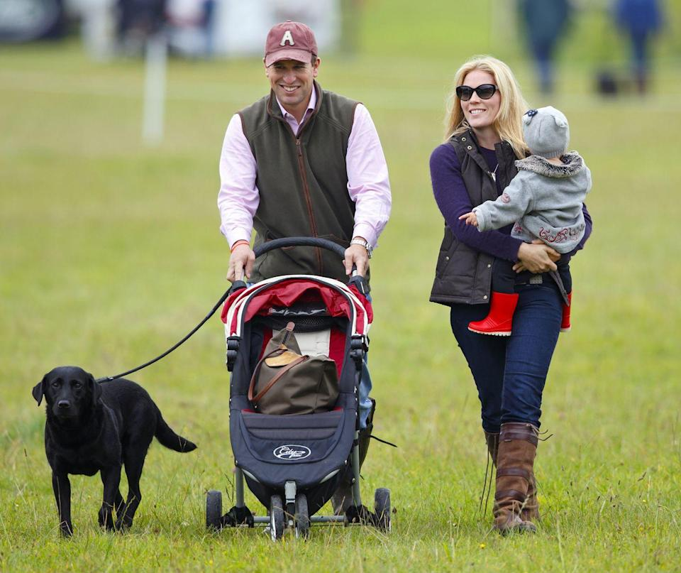 <p>Princess Anne chose to forgo royal titles for her two children, Peter and Zara Phillips, but they're still technically part of the royal family. Here, Peter Phillips and his wife, Autumn, prove on a day out at the Gatcombe Horse Trials that they are just like any other family.</p>
