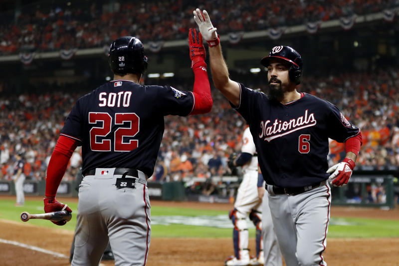 Anthony Rendon (right) and Juan Soto drove in seven combined run in the Nationals World Series Game 6 win. (Photo by Rob Tringali/MLB Photos via Getty Images)